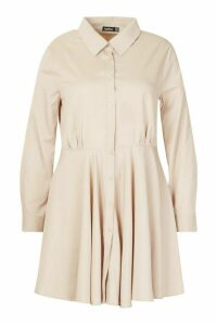 Womens Plus Full Skirted Shirt Dress - beige - 18, Beige