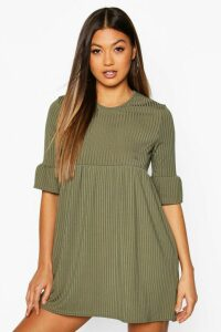 Womens Rib Frill Sleeve Smock Dress - green - 14, Green