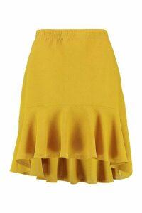 Womens Drop Hem Mini Skirt - yellow - 14, Yellow