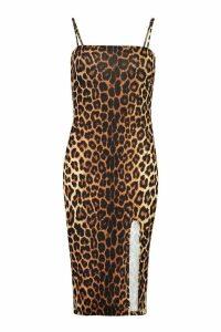 Womens Strappy Leopard Print Split Front Midi Dress - brown - 16, Brown