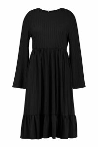 Womens Recycled Rib Midi Smock Dress - black - 26, Black