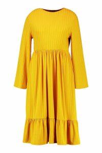 Womens Recycled Rib Midi Smock Dress - yellow - 24, Yellow