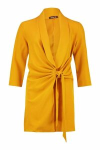 Womens Woven Tie Side Detail Blazer Dress - yellow - 10, Yellow
