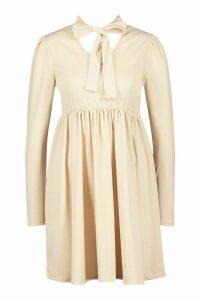 Womens Bow Neck Smock Dress - beige - 16, Beige