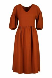 Womens Woven V-neck Oversized Midi Smock Dress - orange - 16, Orange