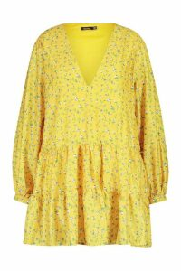 Womens Plus Ditsy Floral V-Neck Tiered Smock Dress - yellow - 20, Yellow