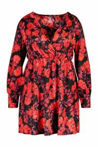 Womens Plus Floral Jacquard Satin Skater Dress - black - 20, Black