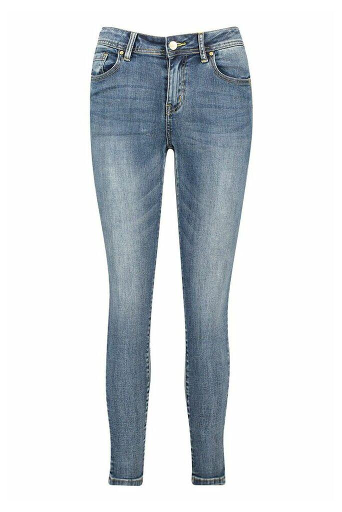 Womens Mid Rise Stretch Skinny Jeans - blue - L, Blue