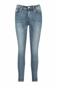 Womens Mid Rise Stretch Skinny Jeans - blue - XS, Blue