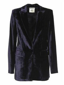 SEMICOUTURE Blue Velvet Blazer