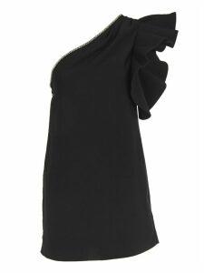 self-portrait Black Short One-shoulder Dress