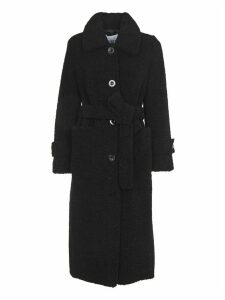 STAND STUDIO Lottie Black Faux Fur Coat