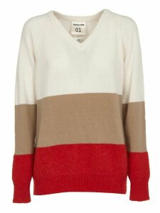 SEMICOUTURE Red, Beige And White Long Sweater