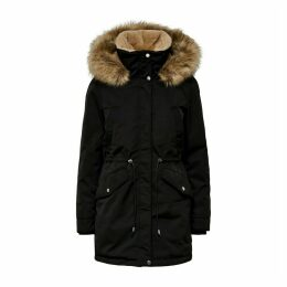 Long Faux Fur Hooded Parka with Pockets