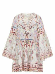 Camilla - Tanami Road Printed Bell-sleeved Silk Dress - Womens - White Multi