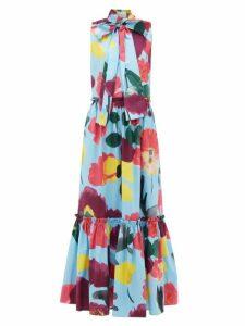 La Doublej - Lou Lou Floral Print Pussy Bow Cotton Dress - Womens - Blue Print