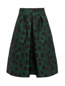 La Doublej - Macaron Floral Jacquard Satin Pleated Skirt - Womens - Green Print