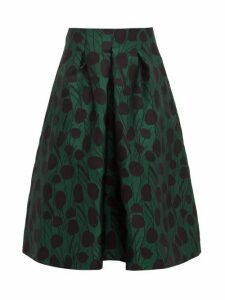 La Doublej - Macaron Floral Jacquard Satin Pleated Skirt - Womens - Green Print