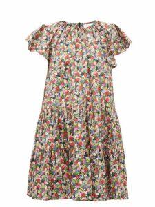 La Doublej - Snow Drop Floral Print Cotton Mini Dress - Womens - Black Print