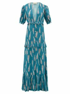 Adriana Degreas - Aloe Print Pleated Trim Twill Maxi Dress - Womens - Blue Print