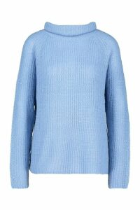 Womens Loose Roll Neck Jumper - blue - XS, Blue