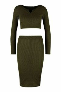 Womens Petite Knitted Rib Notch Detail Top & Skirt Co-Ord - green - 4, Green