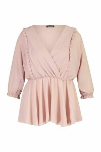 Womens Plus Ruffle Detail Wrap Peplum Blouse - pink - 24, Pink