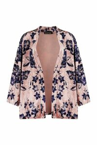Womens Luxury Printed Velour Kimono - pink - M, Pink
