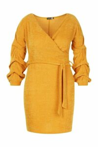 Womens Plus Knitted Ruched Sleeve Wrap Dress - yellow - 20, Yellow