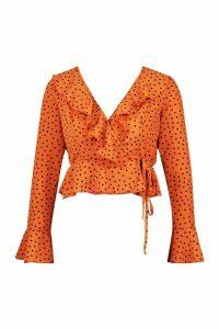 Womens Petite Polka Dot Ruffle Wrap Top - orange - 14, Orange
