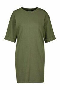 Womens T-Shirt Sweat Mini Dress - green - 10, Green