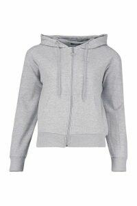 Womens Basic Soft Mix & Match Zip Through Hoodie - grey - 8, Grey