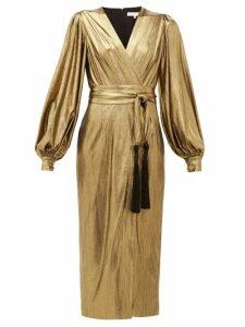 Borgo De Nor - Sofi Tasselled Waist Tie Lamé Midi Dress - Womens - Gold