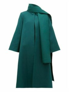 Emilia Wickstead - Ellis Stretch Cloqué Opera Coat And Scarf - Womens - Dark Green