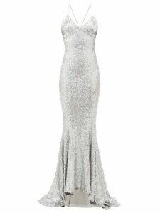 Norma Kamali - Fishtail-hem Sequinned Maxi Dress - Womens - Silver