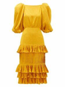 Johanna Ortiz - Isolated Treasure Puff-sleeve Satin Dress - Womens - Yellow