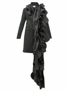 Comme Des Garçons Comme Des Garçons - Scalloped Panel Satin Blazer Coat - Womens - Black
