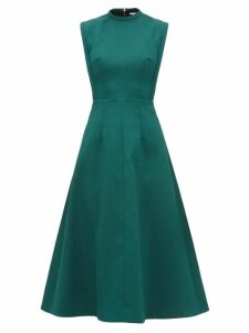Emilia Wickstead - Elisabeth A Line Cloqué Midi Dress - Womens - Dark Green