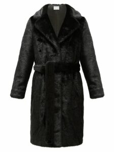 Stand Studio - Juliet Waist-tie Faux-fur Coat - Womens - Black