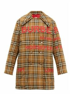 Burberry - Logo Print Cotton Flannel Coat - Womens - Beige Multi