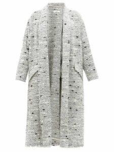 Isabel Marant Étoile - Faby Waterfall Collar Slubbed Bouclé Coat - Womens - Light Grey