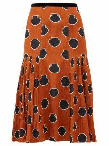 Johanna Ortiz - Vase Print Floral Jacquard Skirt - Womens - Brown Multi