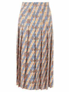 Gucci - Pleated Giraffe And Stripe Print Silk Midi Skirt - Womens - Ivory Multi