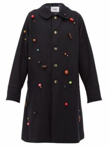 Bode - Beaded Wool Single Breasted Coat - Womens - Navy