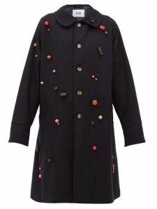 Bode - Beaded Wool Single-breasted Coat - Womens - Navy