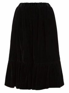 Comme Des Garçons Comme Des Garçons - Gathered Hem Velvet Skirt - Womens - Black
