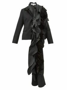 Comme Des Garçons Comme Des Garçons - Satin Ruffled Wool Blazer - Womens - Black