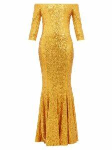 Norma Kamali - Mermaid-hem Off-the-shoulder Sequinned Dress - Womens - Gold