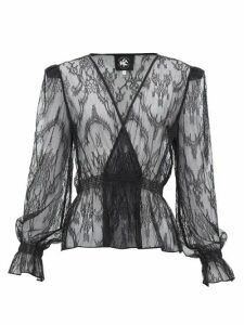 Current/elliott X Vampires Wife - Tullulah Lace Wrap Blouse - Womens - Black