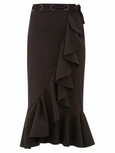Johanna Ortiz - Asymmetric Ruffled Cotton Blend Midi Skirt - Womens - Black